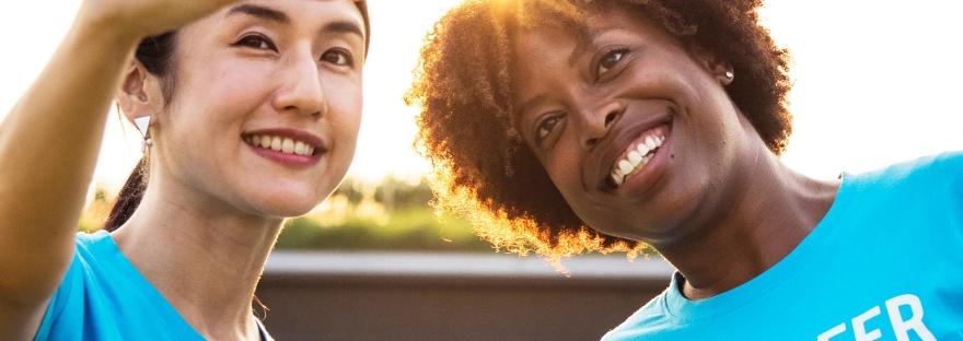 Photo of two volunteers taking a selfie